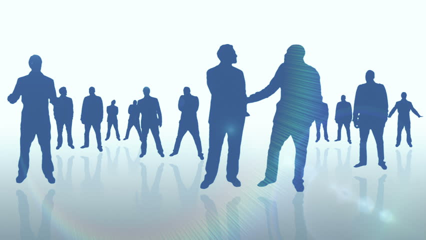 Business men corporate silhouettes animation - Full HD Business men corporate animation. Pan movement camera with lens flare.  Background and transition - 1080p