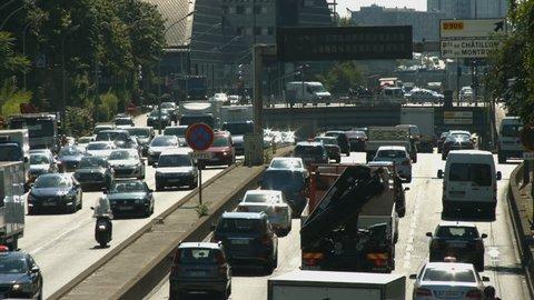 PARIS FRANCE- JULY 2, 2014: Paris ring road traffic