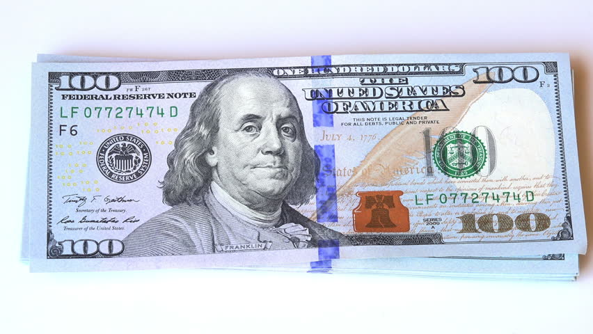 Zoom In On A New 100 Dollars Bill