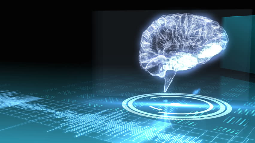 revolving transparent human brain graphic with interface