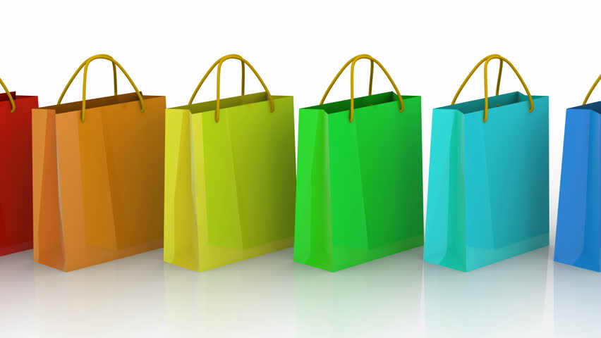Colored Paper Shopping Bags Animation Stock Footage Video 5573303 ...