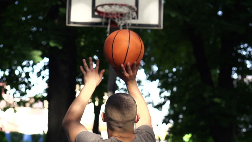 Man missed free throw on court in park, super slow motion, 240fps