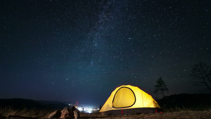 Moving Stars Above Tent At Night Time Lapse Stock Footage Video 6904405 | Shutterstock & Moving Stars Above Tent At Night Time Lapse Stock Footage Video ...