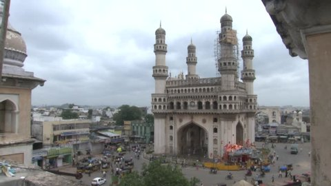 The Charminar - built in 1591 CE, is a monument and mosque located in Hyderabad, India. It falls under the common capital area shared between the states of Telangana and Andhra Pradesh.