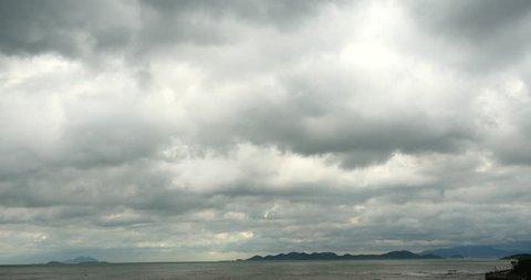 4k sparkling ocean sea water waves surface&coastal rock reef coast cloud cloudscape.dark clouds. gh2_08288_4k