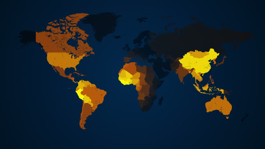 Loop animation of an illuminated world map countries light up in loop animation of an illuminated world map countries light up in yellow and orange on a dark blue background representing communication transportation gumiabroncs Image collections