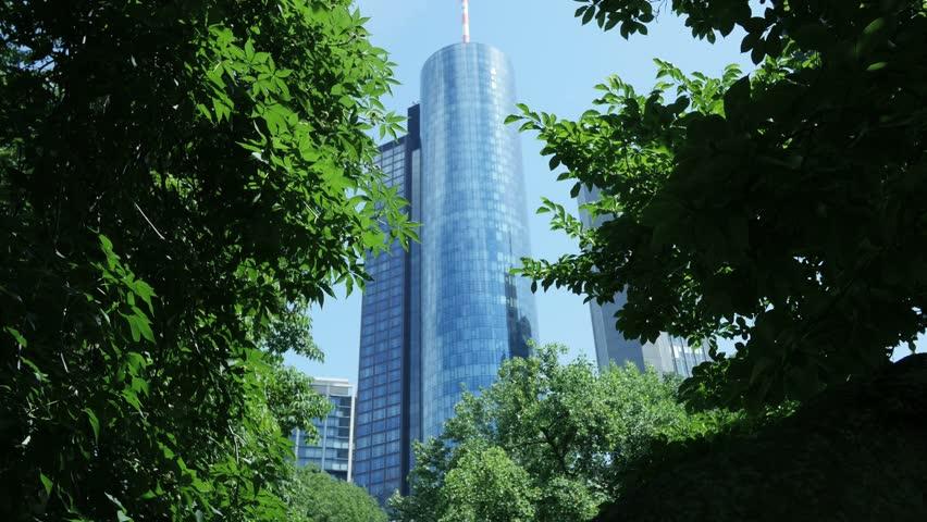 Modern Architecture Videos city park view. skyline skyscrapers. nature trees. urban modern