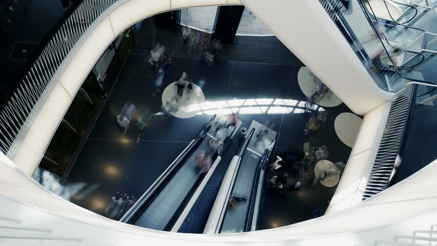 Modern Architecture Videos people inside shopping center. modern architecture. interior