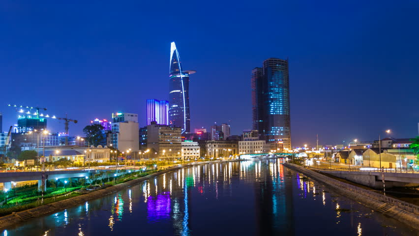 Ho Chi Minh City Skyline at Night - Timelapse View | Shutterstock HD Video #6952285
