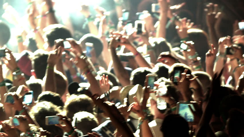 Crowd at Concert - Fans Cheering in Audience with Smartphones in Music Show at Coachella in Slow Motion | Shutterstock HD Video #6956665