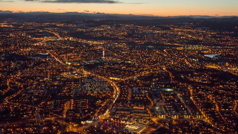 TRONDHEIM, NORWAY, JANUARY 2014 Aerial view over central Trondheim, Norway at night.
