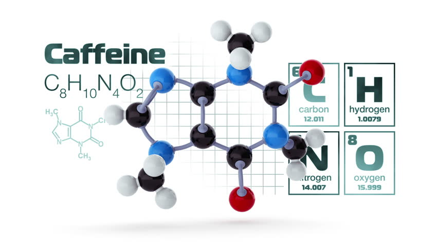Molecular structure with elements of periodic table and chemical caffeine molecule model light version loop hd stock video clip urtaz Image collections