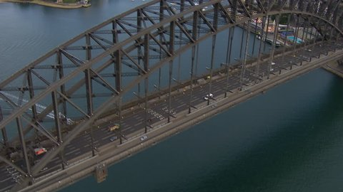 Wide aerial shot of Sydney Habour Bridge from west to east Sydney Harbour Bridge, Sydney Opera House