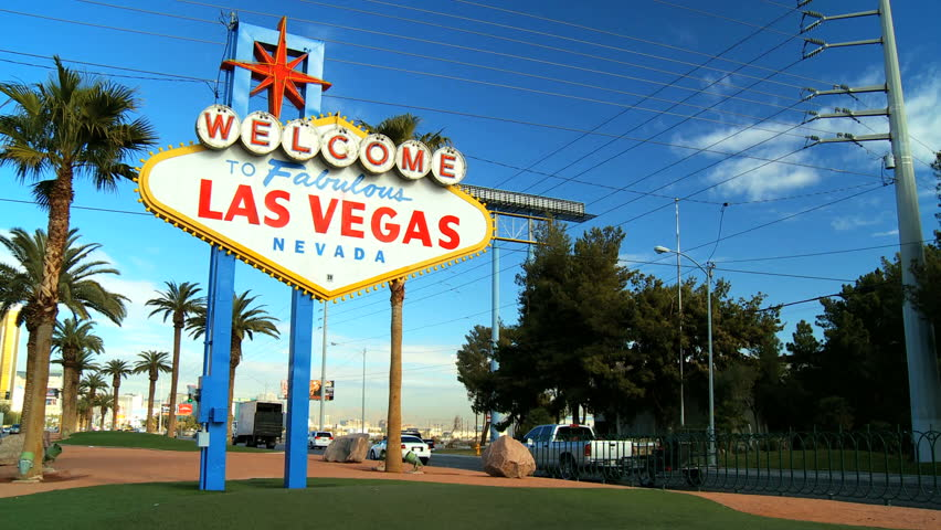Illuminated  welcome sign at the start of the famous Las Vegas Strip | Shutterstock HD Video #697885