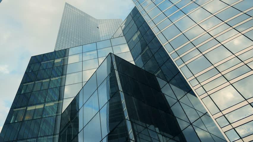 Luxury Business Buildings. Glass Construction Architecture
