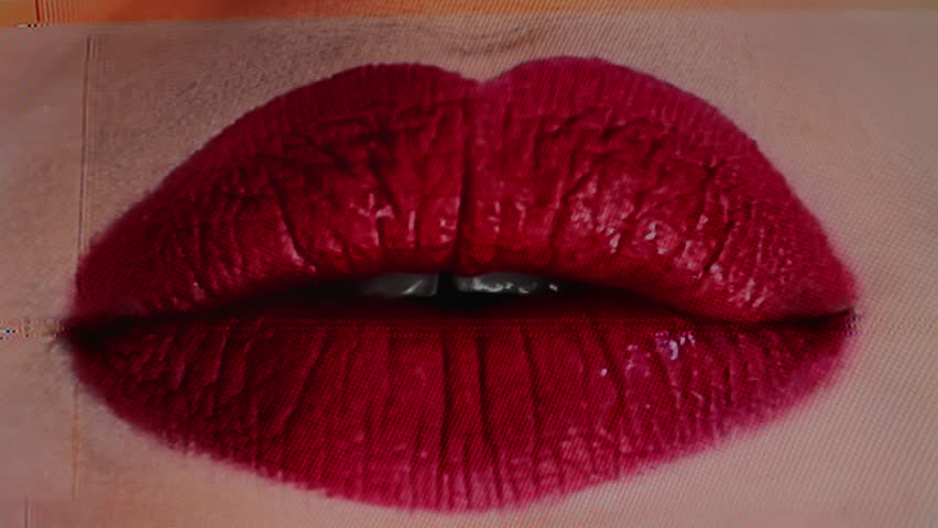 4k sequence of different images of close-up of woman's beautiful full red lips. with intentional analogue broken tv and video static