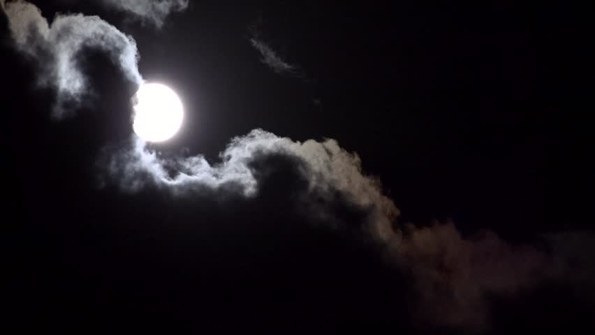 Ultra HD 4K Full Moon In Clouds On Sky Night View Moon ...