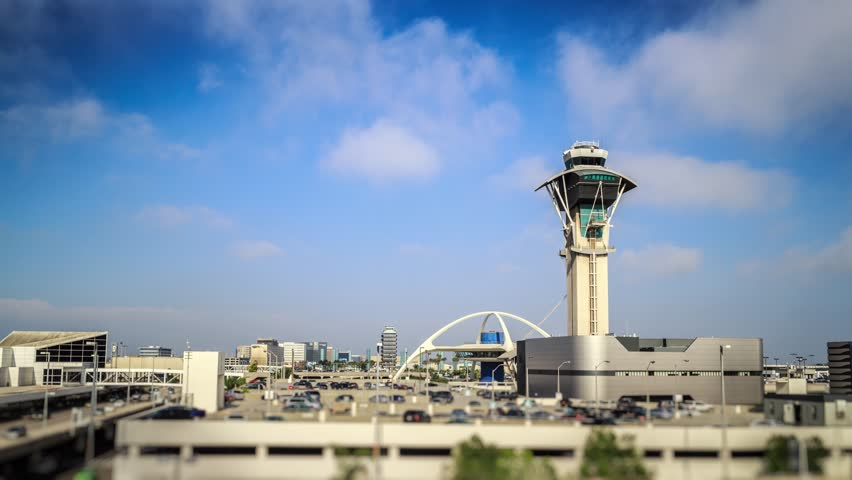 Los Angeles International Airport LAX. Clouds over control tower, 4K timelapse