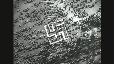 CIRCA 1940s - American propaganda films makes it clear that Germans are not to be trusted after World War Two. Footage of Nazi youth on parade.