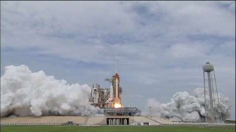 CIRCA 2010s - The Space Shuttle Atlantis lifts off from the launching pad.