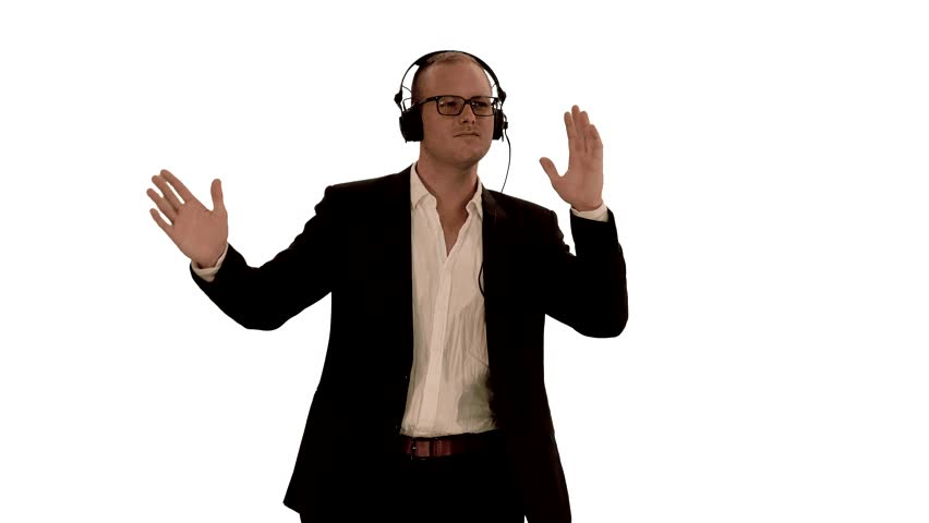 Stock Video Clip Of Man Dancing With Headphones. Isolated