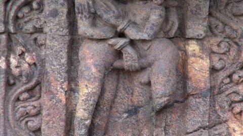 beautiful ancient erotic sacred art sculptures on Konark sun temple wall, Odisha, India