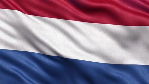 Realistic Ultra-HD flag of the Netherlands waving in the wind. Seamless loop with highly detailed fabric texture. Loop ready in 4K resolution.