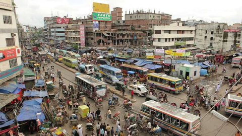 View of busy streets in Dhaka, Bangladesh