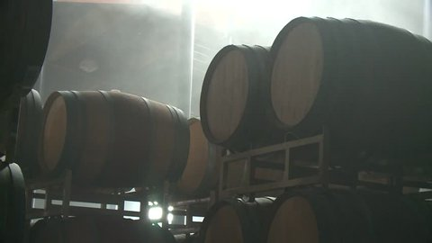 Wine Barrels Celler Aged California Napa Valley Vineyard Grapes Vintner at Winery HD High Definition stock video footage clip 5