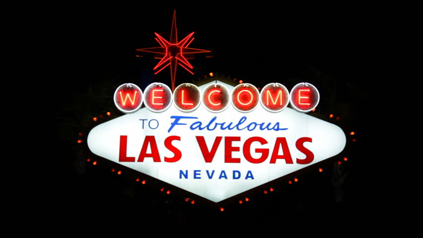 The Las Vegas welcome sign at night. | Shutterstock HD Video #719785