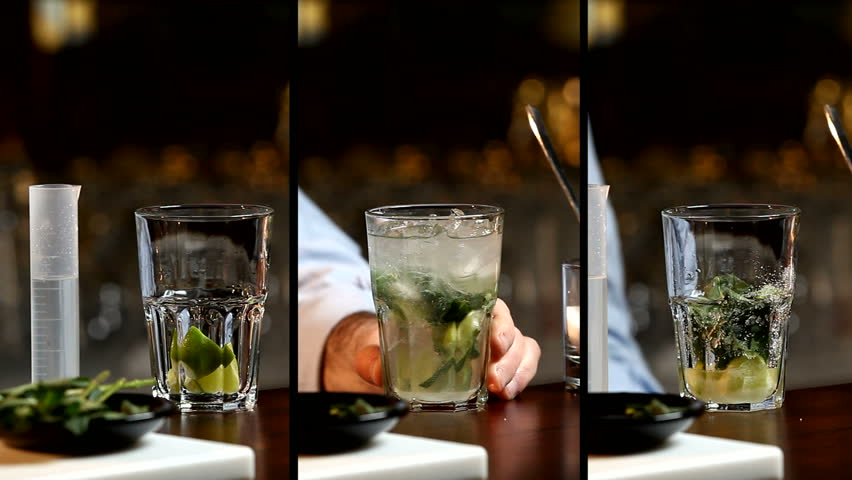 Bartender Preparing And Serving Mojito Cocktail Split Screen