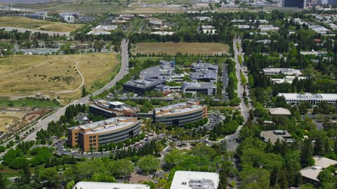 CALIFORNIA - CIRCA 2014 Aerial view of Google building in Silicon Valley California. Microsoft and other high tech industry buildings in surrounding area.