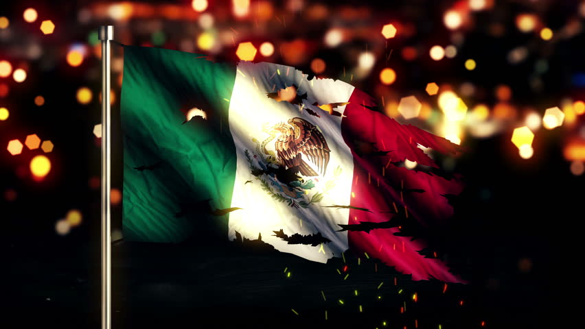 Mexico Flag Light Night Bokeh Abstract Loop Animation 4K Resolution UHD Ultra HD Stock Footage ...