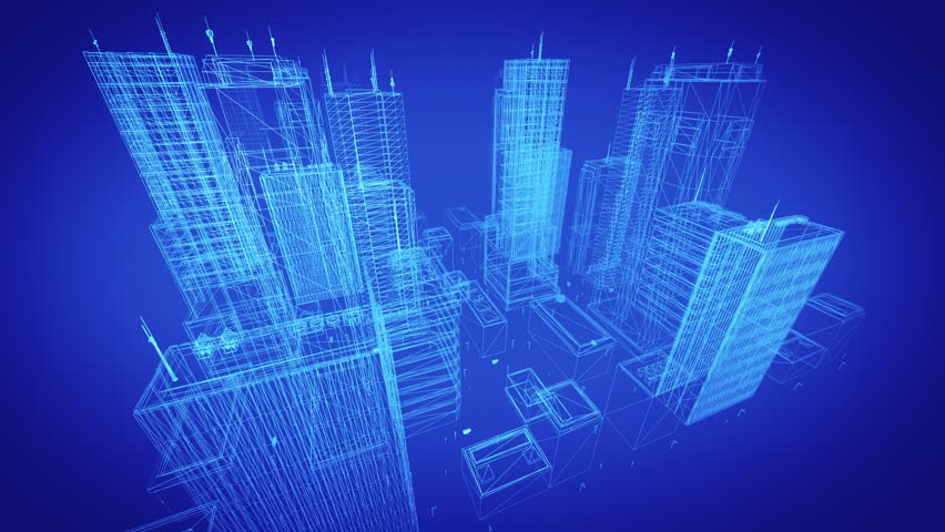 Architectural Blueprint Of Contemporary Buildings Blue
