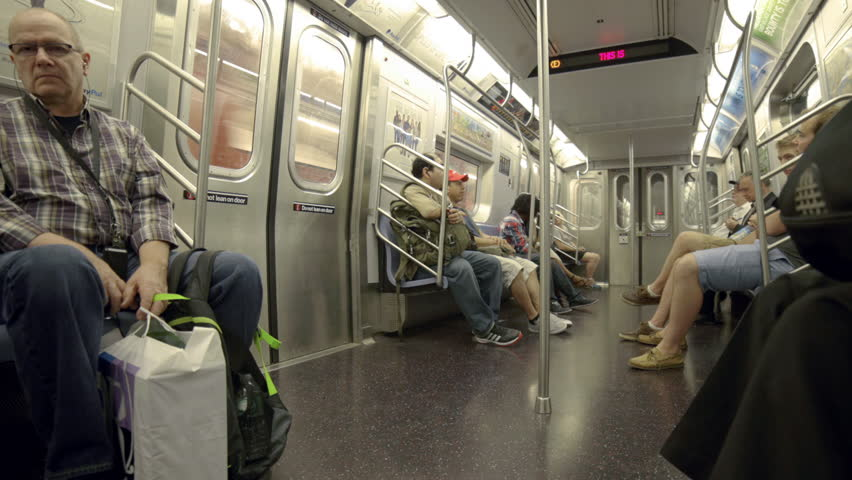 new york august 7 2014 passengers riding on crowded mta subway train in new york the new. Black Bedroom Furniture Sets. Home Design Ideas