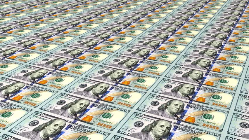 Printing New Money, Hundred Dollar Bill Press. Loop Stock Footage ...