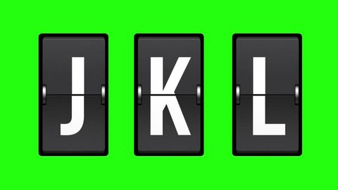 Letters J, K, L on a mechanical timetable. Alphabet, characters and numbers on mechanical scoreboard. Full HD with green screen. Modern technology, 1080p, 1920x1080