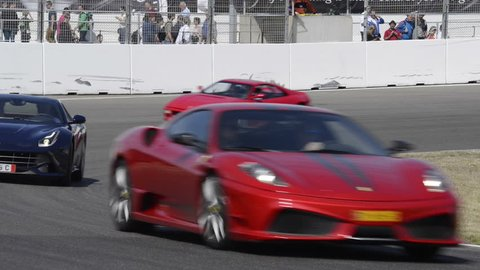 ZANDVOORT, THE NETHERLANDS - JUNE 29 2014: Ferrari sports car, F430,  F12 Berlinetta, 550 Maranello, 360 Modena, 456 GT and 308 driving at the Zandvoort race track during the Italia a Zandvoort event.