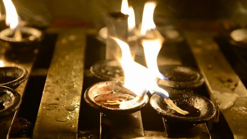 Small Oil Lamps Fire In Buddhist Temple   HD Stock Video Clip