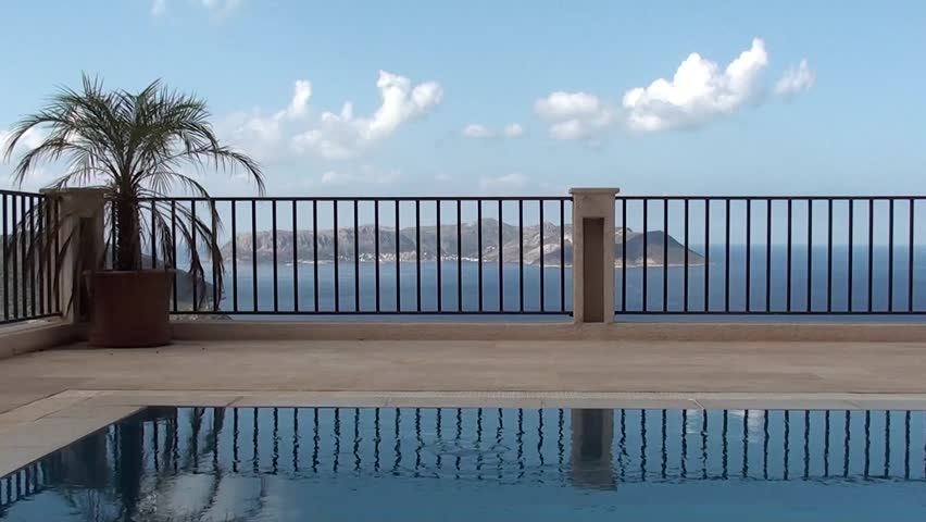 Beautiful view on the pool and the sea | Shutterstock HD Video #7307317
