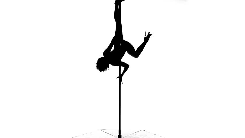 Silhouette Of A Sexy Female Pole Dancing On White ...
