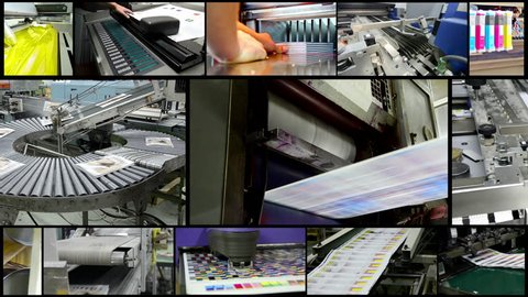 4k amazing print industry montage. Video wall background of printing plant production process.