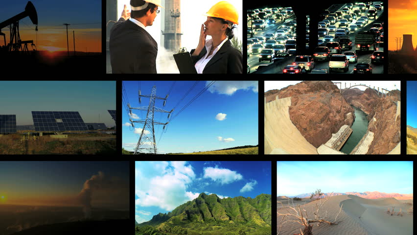Montage collection of moving frames of environmental damage from fossil fuel pollution & clean renewable energy sources | Shutterstock HD Video #738445