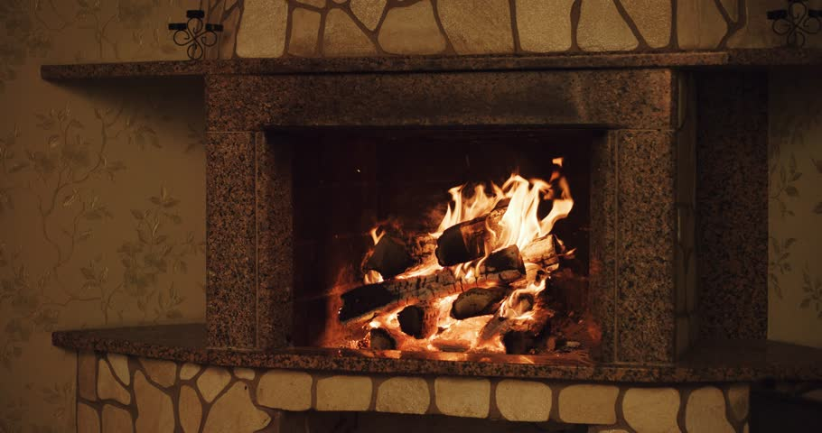 Warm Cozy Burning Fire In A Brick Fireplace Close Up. Cozy ...