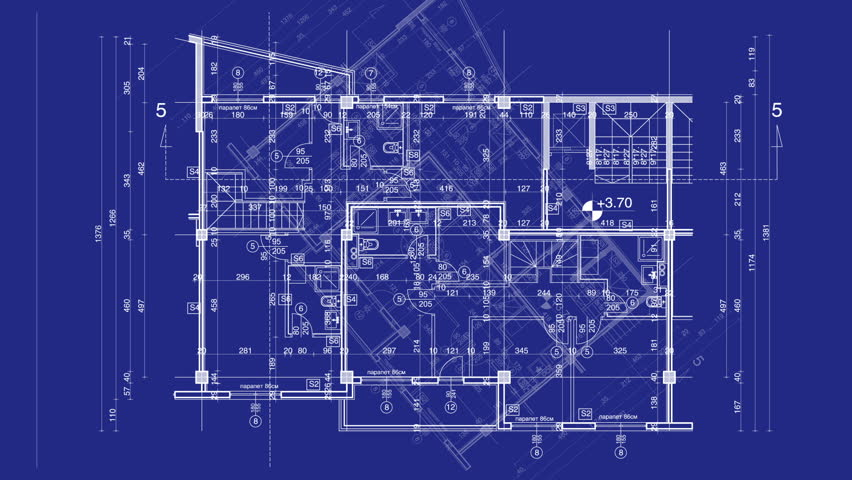 abstract architecture background  blueprint house plan with sketch of city  animated in background   HD. Graphic Design Layout Process Time Lapse Blueprint Stock Footage