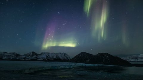 Northern Lights over the Arctic glacier