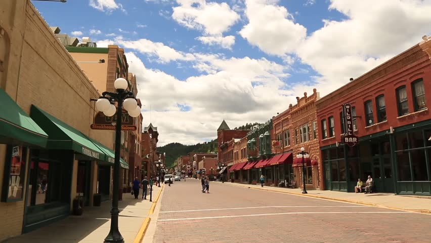 Deadwood, South Dakota, July 2014 Time Lapse Video of Clouds Passing Over Main Street in Deadwood, South Dakota