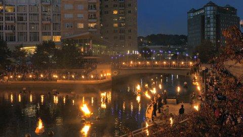 PROVIDENCE, RI - SEPT 27: WaterFire festival in Providence, Rhode Island on September 27, 2014, filmed in 4K ultra high definition.