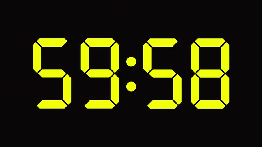 Digital clock count from sixty to zero - full HD - LED display - green / yellow numbers   Shutterstock HD Video #7477015