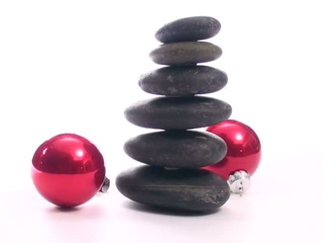 Spa Christmas Theme Of Stack Of Zen Or Massage Rocks And Holiday ...